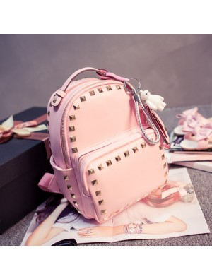 Lovely Pink Baymax Girl Rucksack Rivet Glossy Mini Backpacks