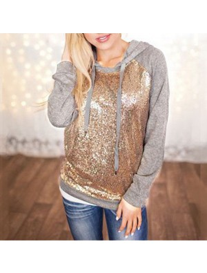 New Ladies Sequins Splicing Casual T-shirt Women's Hooded Jacket  Pullover Tops