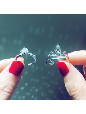Fashion Shining Crown Design Adjustable Silver Diamond Women Double Ring