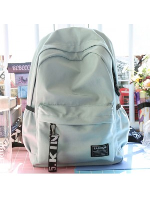 Fresh Young Simple Waterproof Pure Color Letters Belts School Bag Travel Backpack