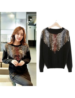 Inverted Triangle Sequined Raglan Long Sleeves O-neck Knit Fashion Sweater