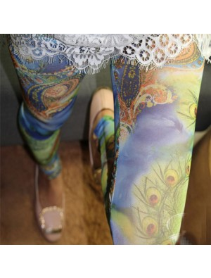 Patterns Printing Mesh Thin Sun Block Fashion Girl's Bohemian style Ninth Leggings