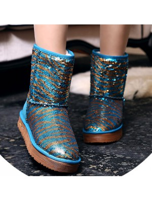 New Sequin Winter Leather Snow Boots/Cotton Shoes