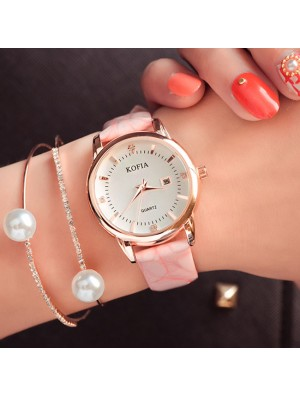 Elegant Diamond Calendar Quartz Cortical Women Waterproof Wrist Watch
