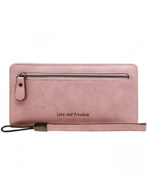 Unique Girl's Square Wallet PU Cellphone Clutch Bag Love Freedom Letters Zipper Purse