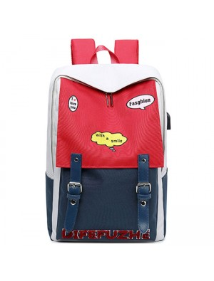 Leisure Red Blue Contrast Color High School Student Bag Large Capacity College Backpack