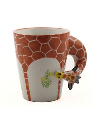 3D Hand Painted Giraffe/Elephant Animal Pattern Ceramic Mug/Cup