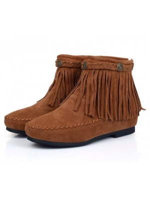 Sweet Nubuck Leather Tassel Height Increasing Flat Boots