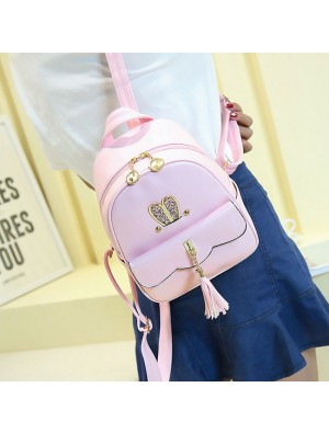 Leisure Lotus Leaf School Backpack PU Girls Tassels Pink Rabbit Ear Backpack