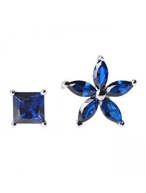 925 Sterling Silver Lady's Asymmetric Square Small Flowers Blue Zircon Allergy Silver Earrings Studs