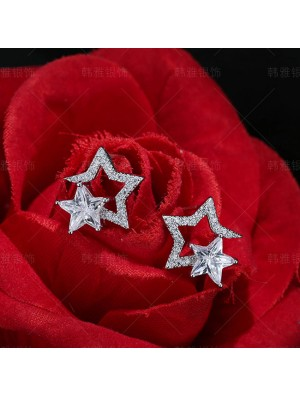 Shining Double Star Sterling Silver Crystal Lady Earring Studs