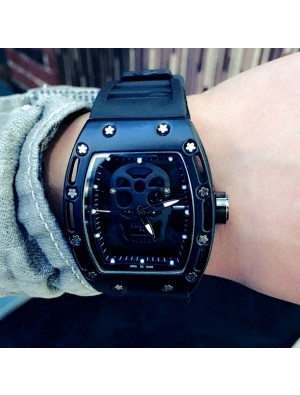 Punk Skull Diamond-embedded Square Dial Rubber Strap Men's Quartz Watch