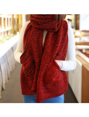 Women Fringed Lattice Pocket Shawl Scarf Dual Sided Thickening Long Cloak