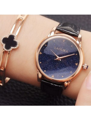 Elegant Galaxy Shining Starry Sky Circular Dial Waterproof Women Quartz Watch