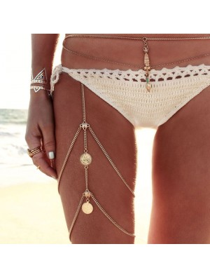 Vintage Beach Harness Jewelry Stretchy 2 Tier Leg Thigh Alloy Chain