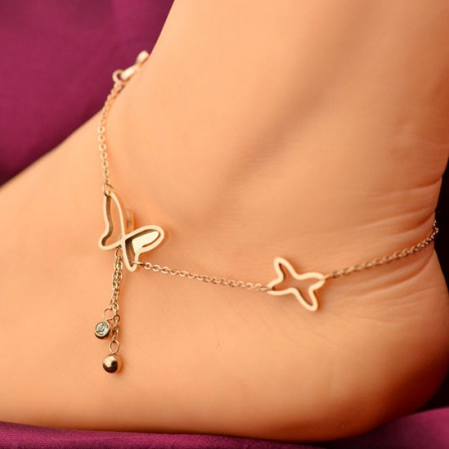 gold bracelet com dainty butterfly fashion shop ankle rose women plated surewaydm anklets anklet jewelry