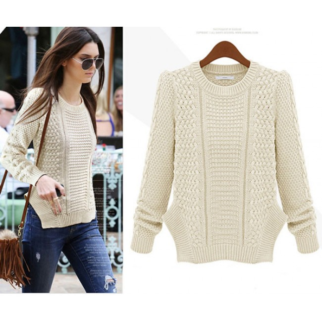 253179d73 Personality Side Split Cable Knit Sweater only $41.99 -AtWish.com