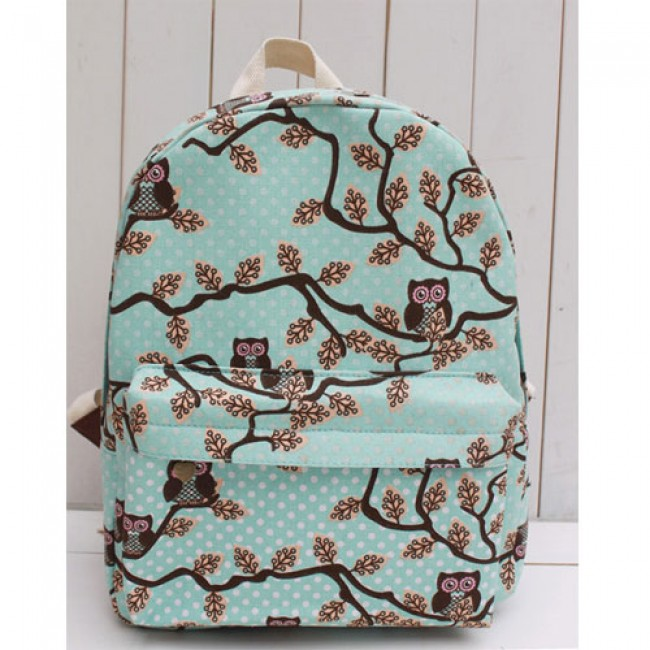 4c6b8a67c Unique Owl With Fresh Floral Canvas Backpack | Fashion Backpacks ...
