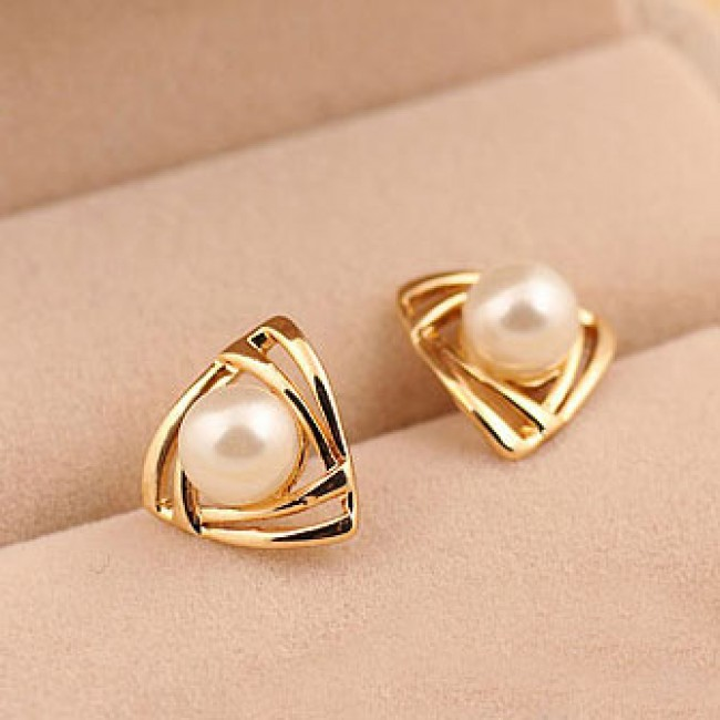 Lovely Triangle Pearl Earring Studs Fashion Earrings Jewelry Atwish Com