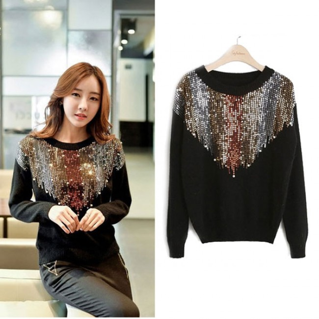 d7275fc8af34e3 Inverted Triangle Sequined Raglan Long Sleeves O-neck Knit Fashion Sweater