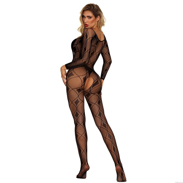 Sexy Striped Siamese Stockings Hollow Open Crotch Skinny Long Sleeve Net Conjoined Lingerie