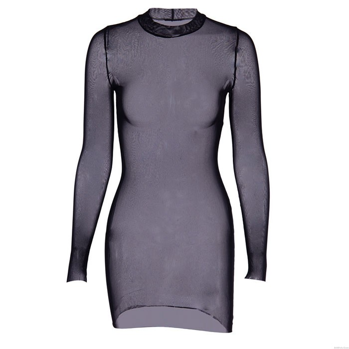 Sexy Long Sleeve Perspective Dress Black Thin Mesh Nightdress Intimate Lingerie