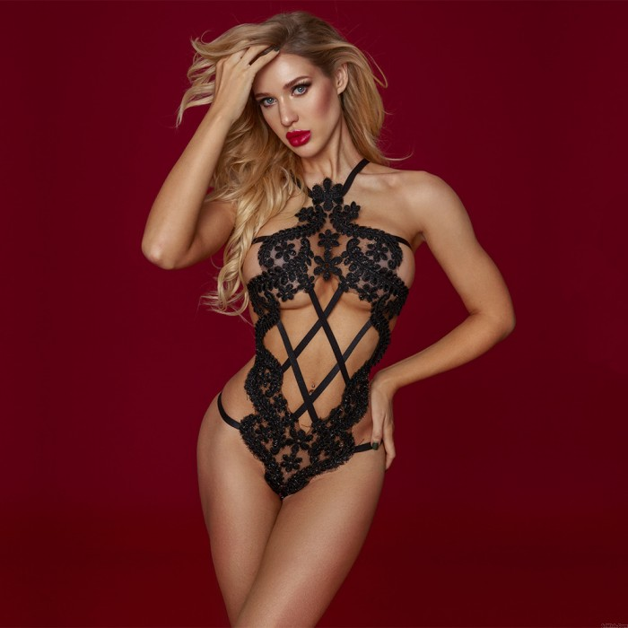 Sexy See Through Halter Backless Bodysuit Women's Underwear Lingerie Hollow Out Fishnet Teddy Strappy Lingerie