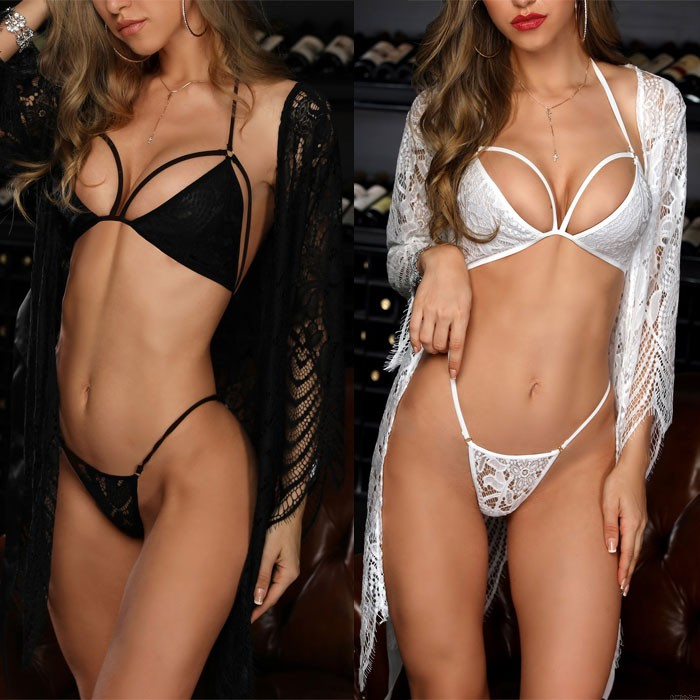 Sexy Babydoll For Women Hollow Lace Bra Panty Set With Lace Robe Nightgown Bodysuit Halter Lingerie