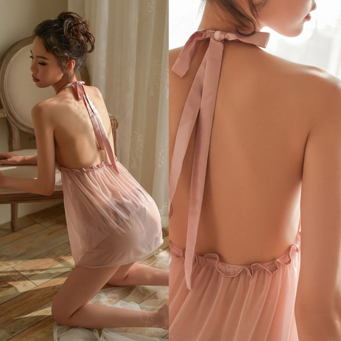 Sexy Chemise For Women Hollow Transparent Nightgown Lace Bow Backless Babydoll Halter Yarn Lingerie