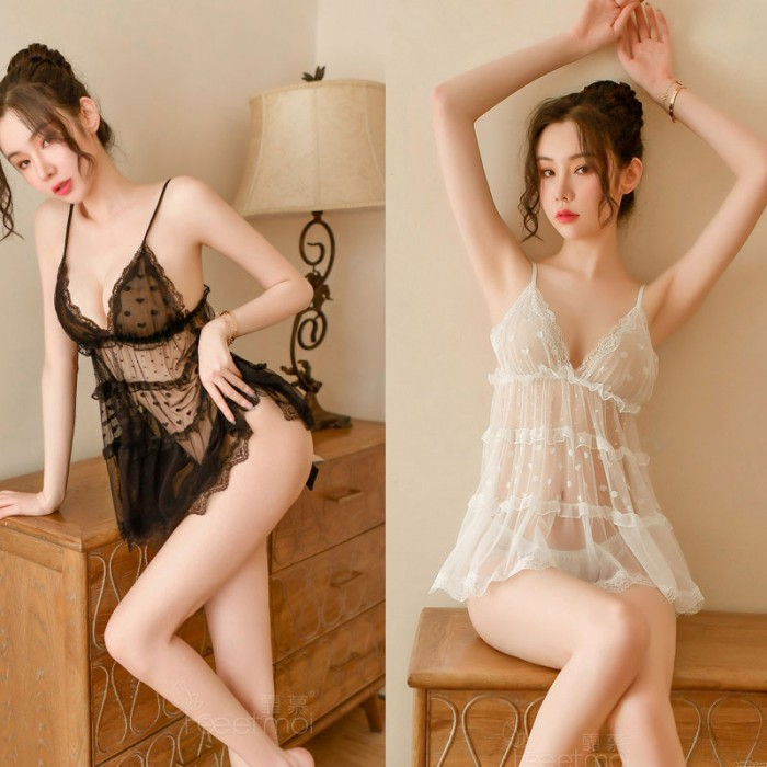 Sexy Lace Dot Chemise For Women Hollow Transparent Nightgown Babydoll Halter Mesh Lingerie