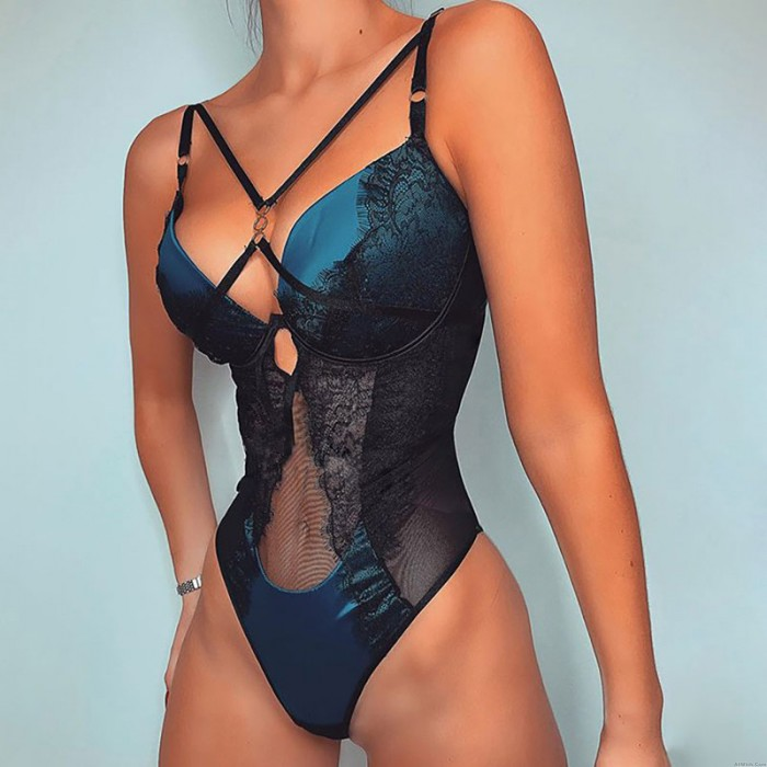 Sexy Blue Teddy Lingerie Mesh Stitching Ring Buckle Corset Lace One-piece Underwire Bodysuit Women's Lingerie