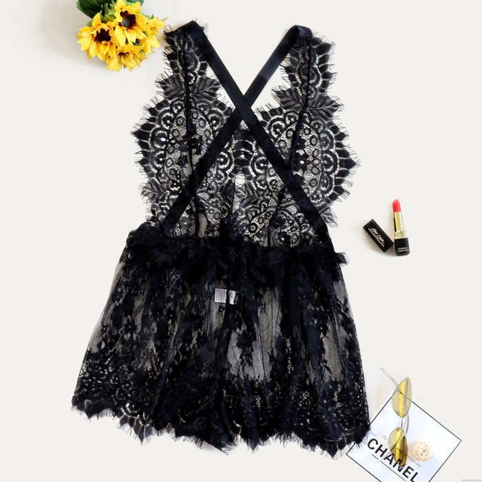 Sexy Lace Bow See-through Dress Backless Pajamas Nightdress Spicy Intimate Lingerie