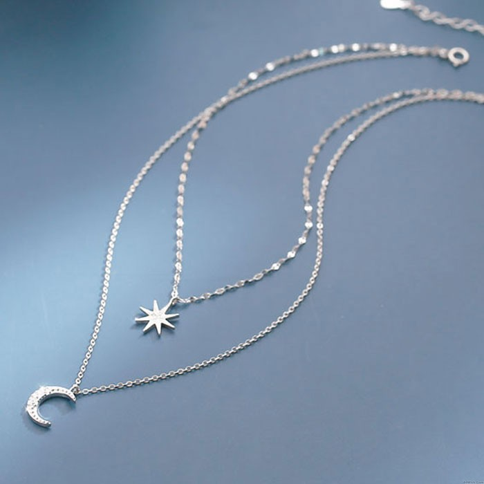 Fashion Eight-pointed Star Moon Double Layer Crystal Women Silver Necklace