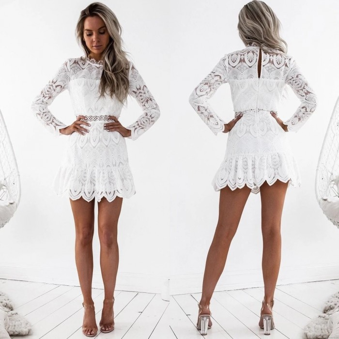Fashion Hollow Floral Bridesmaid Long Sleeve White Lace Middle Slim Summer Dress Party Gown