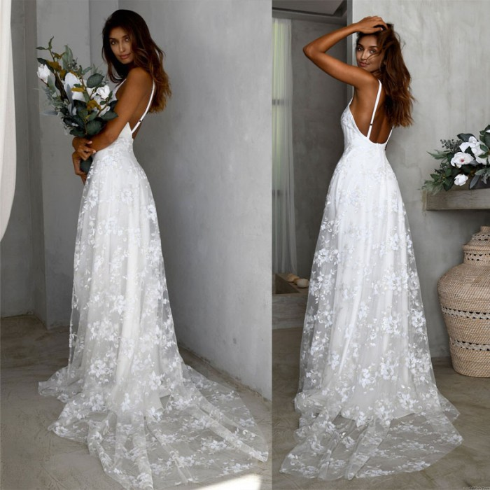 Elegant Deep V Bridesmaid Dress Sleeveless Backless Strap Side Open Long Wedding Lace Evening Gown Maxi Party Dress