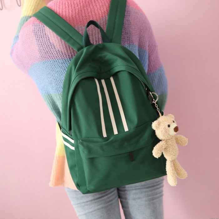 Leisure Three Stripes Large Lightweight Teen Girls Book Bags College Canvas Backpack