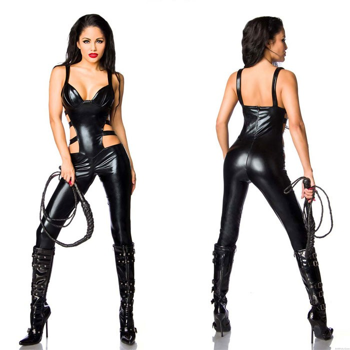 Sexy Black SM Tights Bodysuit For Women Hot Sexual Abuse Patent Leather Stocking Queen Teddy One Piece Lingerie