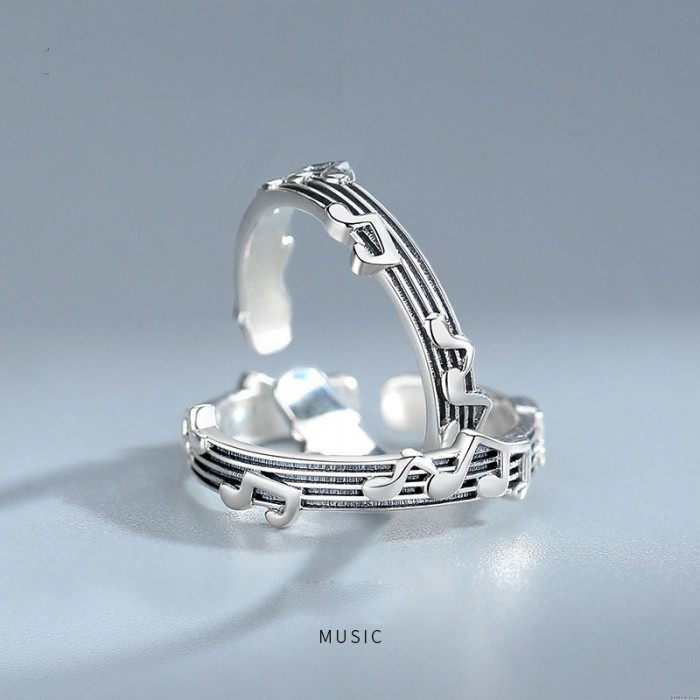 Vintage Musical Notes Sterling Silver Music Clef Open Ring Adjustable Gift For Music Lover Song Ring