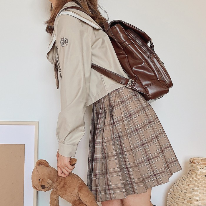 Vintage Double Buckle School Book Bag For Girl British Style Plus Size PU Leather Waterproof College Backpack