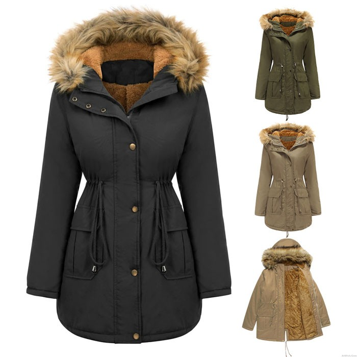 Leisure Plush Cotton Jacket Hood Fur Collar Winter Warm Thick Jacket Plus Size Women's Coat