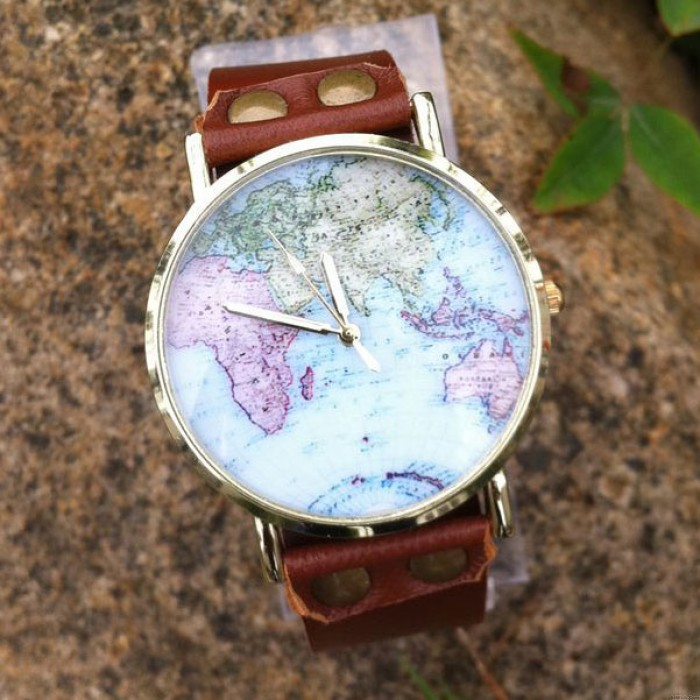 Lovely World Map Retro Leather Watch