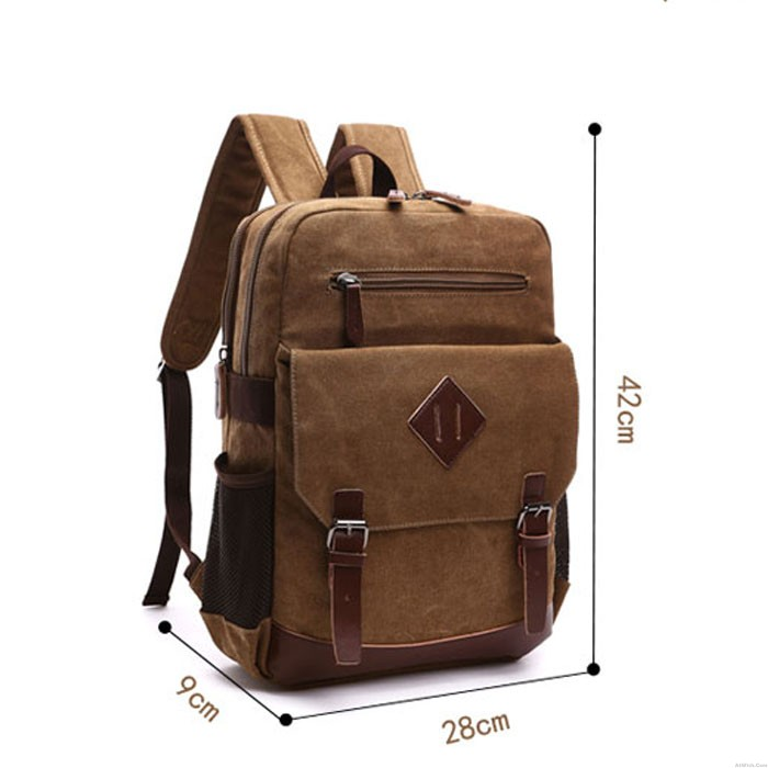 Leisure Travel Laptop Backpack Double Buckle Trunk Canvas School Backpack