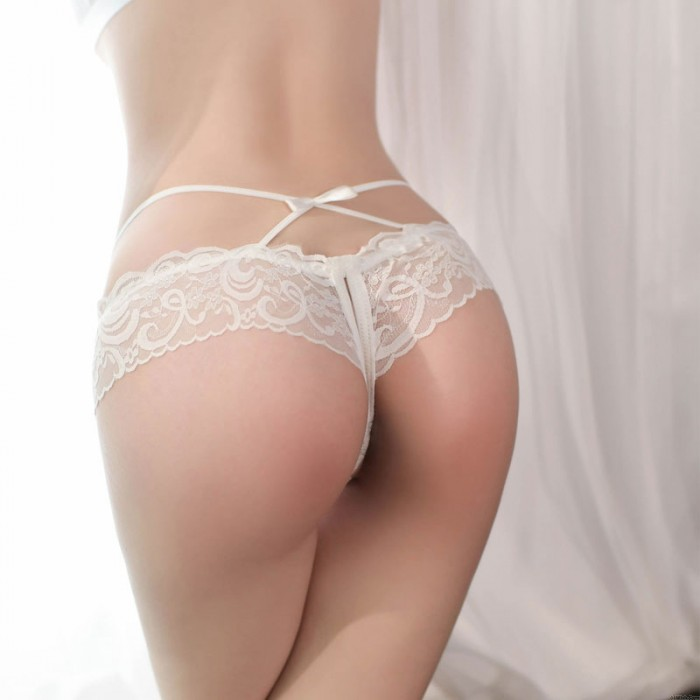 Sexy Lace G-string Thongs For Women Crotchless Briefs Cross Bandage Mesh Bowknot Panties Naughty Underpants Lingerie