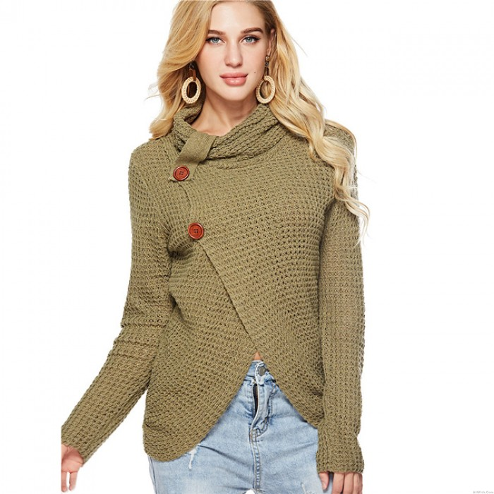 Unique Irregular Long Sleeve High Collar Coat Wool Knitting Women's Sweater