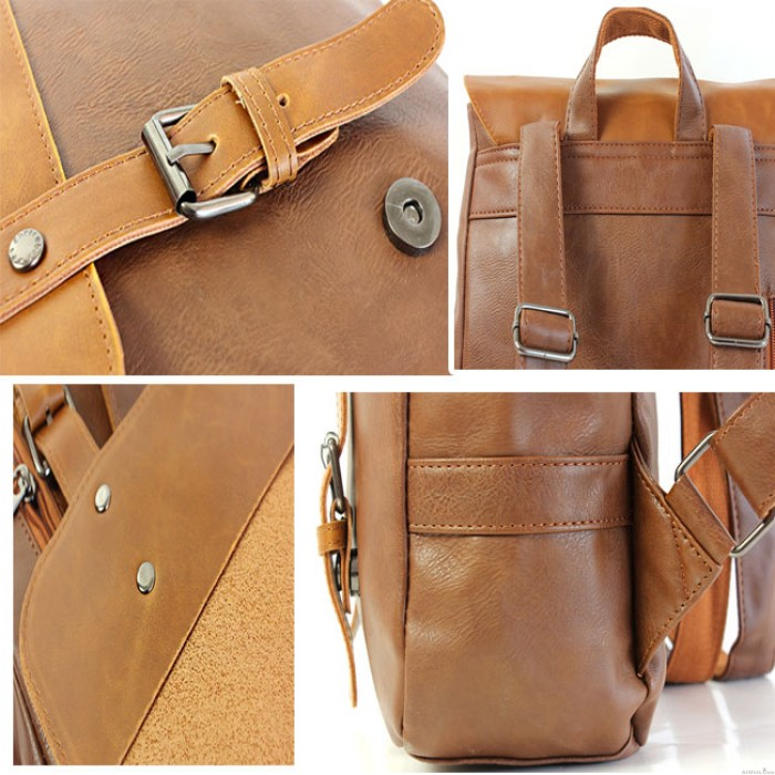 Casual Leaves Leather College Rucksack British Style Schoolbag Backpack