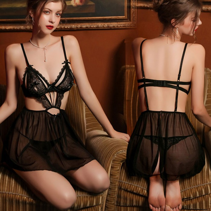 Sexy Babydoll For Women Perspective Backless Deep V Mesh Nightgown Bodysuit Halter Lingerie