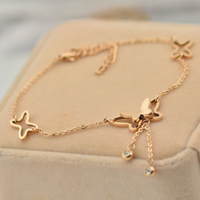 Women Lovely Rose Gold Butterfly Bell Diamond Anklet Foot Jewelry