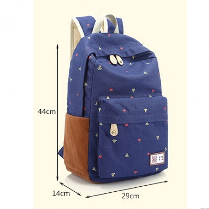 Fresh Fashion Floral Printed Canvas Travel Backpack