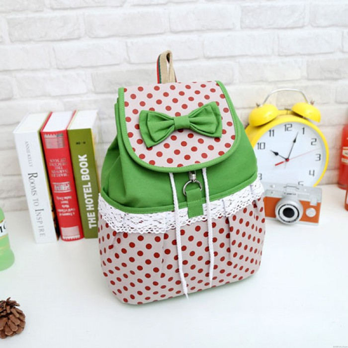 Sweet Lovely Bow Lace Polka Dot Pattern Canvas Children's School Backpack