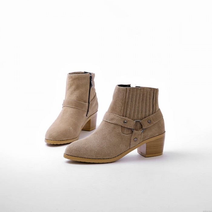 Buckle Side Zipper Suede Ankle Boots